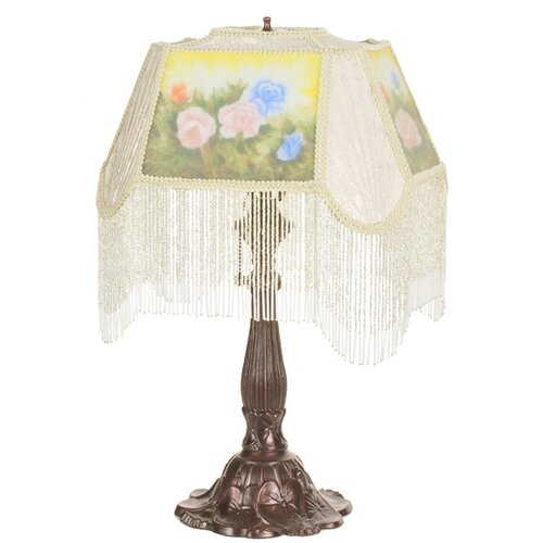 """Meyda Tiffany Reverse Painted Roses 23.5"""" H Fabric with Fringe Accent Table Lamp"""