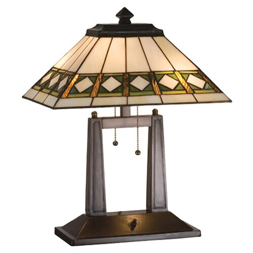 "Meyda Tiffany Diamond Mission Oblong 20"" H Table Lamp with Rectangle Shade"