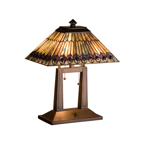 Meyda Tiffany Tiffany Jeweled Peacock Oblong Table Lamp