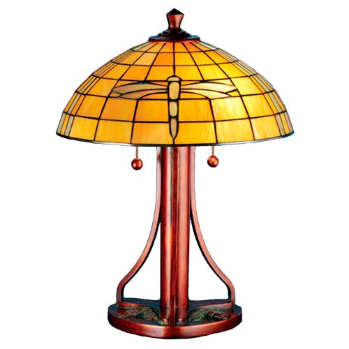 """Meyda Tiffany Arts And Crafts Dragonfly 21.75"""" H Table Lamp with Empire Shade"""