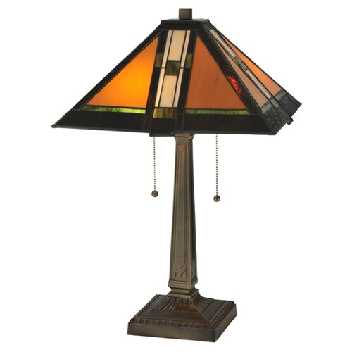 "Meyda Tiffany Prairie Parquet Mission 22"" H Table Lamp with Rectangle Shade"