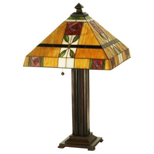 "Meyda Tiffany Lodge Tiffany Mackintosh Rose 24"" H Table Lamp with Square Shade"