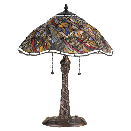 """Meyda Tiffany Spiral Dragonfly 23.5"""" H Table Lamp with Bowl Shade"""