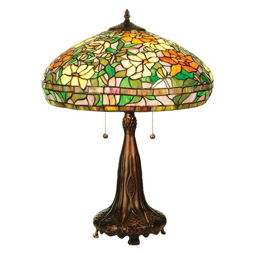 "Meyda Tiffany Tiffany Nouveau Peony 23.5"" H Table Lamp with Bowl Shade"