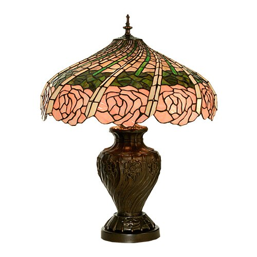 "Meyda Tiffany Rose Swirl 24"" H Table Lamp with Bowl Shade"