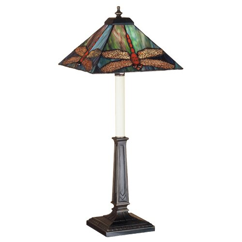 """Meyda Tiffany Prairie Dragonfly Buffet 24.5"""" H Table Lamp with Square Shade"""