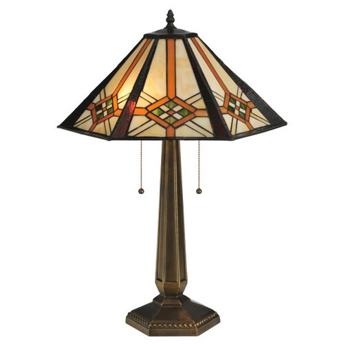 "Meyda Tiffany Crosshairs Mission 25"" H Table Lamp with Bell Shade"