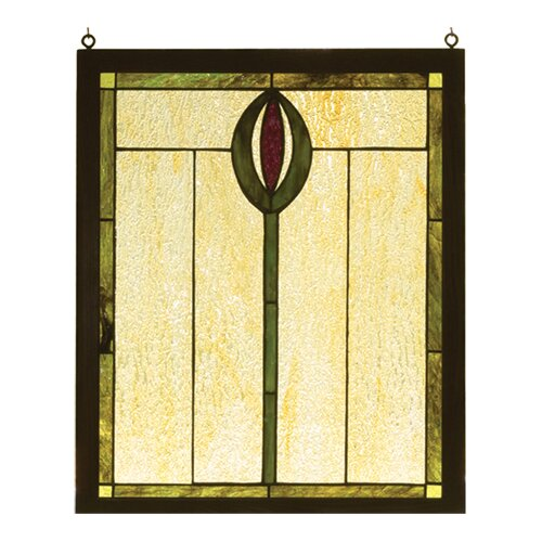Meyda Tiffany Spear Wood Frame Stained Glass Window