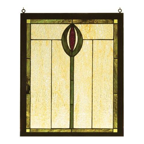 spear wood frame stained glass window wayfair