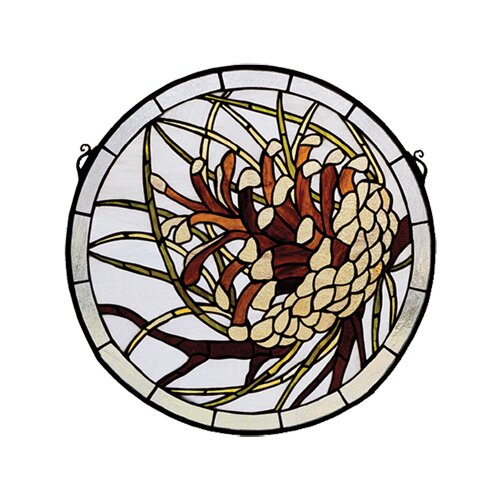Meyda Tiffany Pinecone Medallion Stained Glass Window