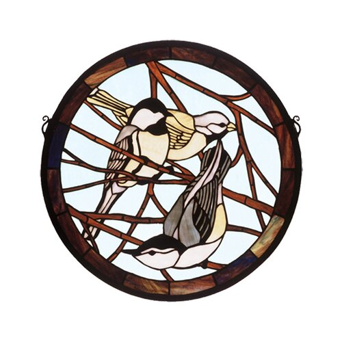 Meyda Tiffany Early Morning Visitors Medallion Stained Glass Window