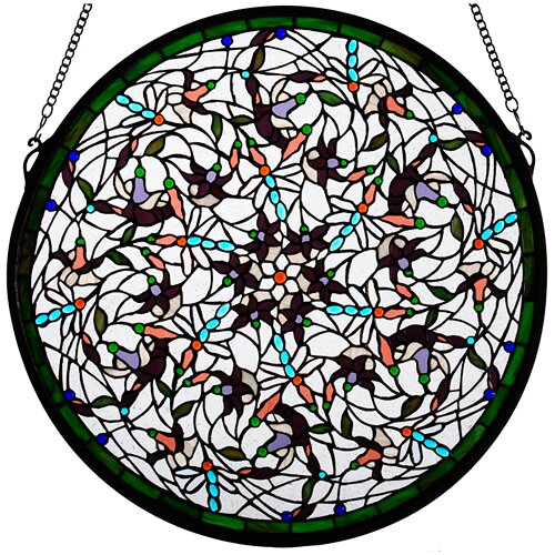 Meyda Tiffany Tiffany Nouveau Insects Dragonfly Swirl Medallion Window in White