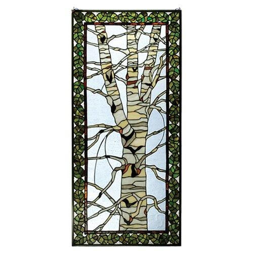 Meyda Tiffany Rustic Lodge Birch Tree in Winter Stained Glass Window