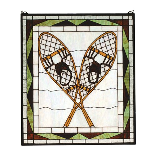 Meyda Tiffany Rustic Lodge Recreation Snowshoes Stained Glass Window