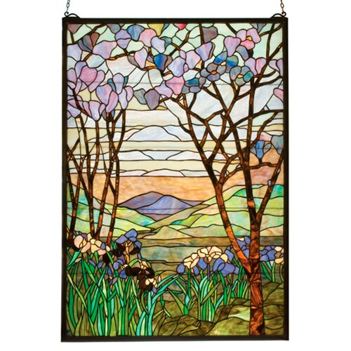 Meyda Tiffany Victorian Tiffany Floral Tiffany Magnolia and Iris Stained Glass Window