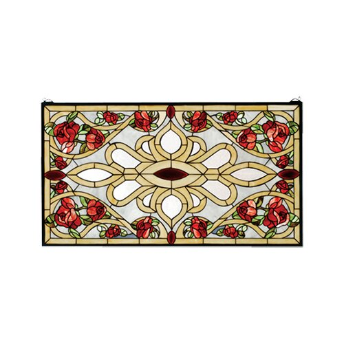 Meyda Tiffany Victorian Bed of Roses Stained Glass Window