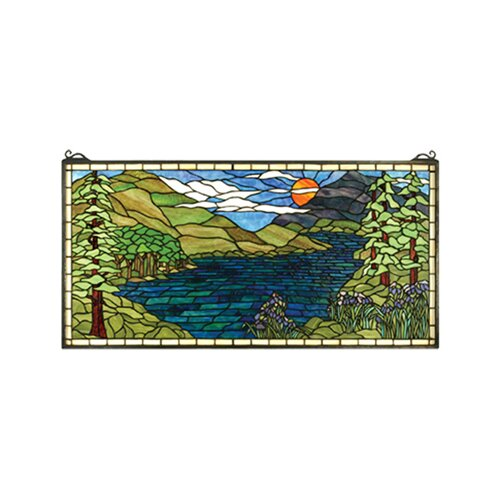 Meyda Tiffany Lodge Tiffany Sunset Meadow Stained Glass Window