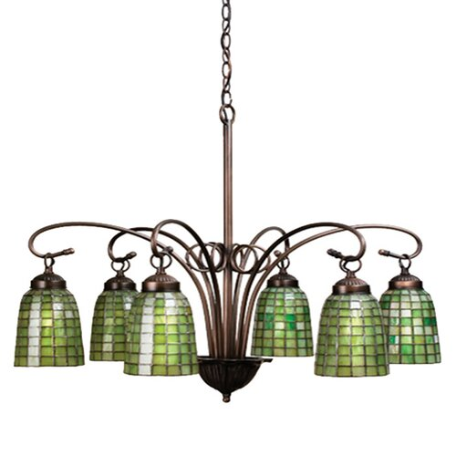 Meyda Tiffany 6 Light Victorian Tiffany Terra Verde Chandelier