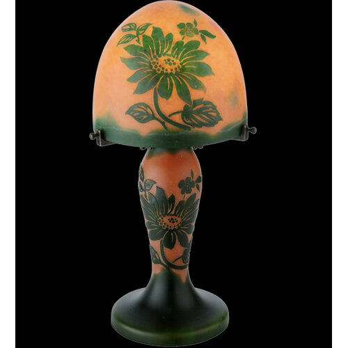 "Meyda Tiffany Floral Galle Clarissa Lighted Base 15"" H Table Lamp with Bowl Shade"