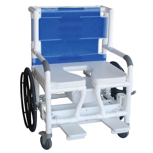 MJM International Wide Self Propelled Bariatric Beach/Pool Shower/Commode Wheelchair