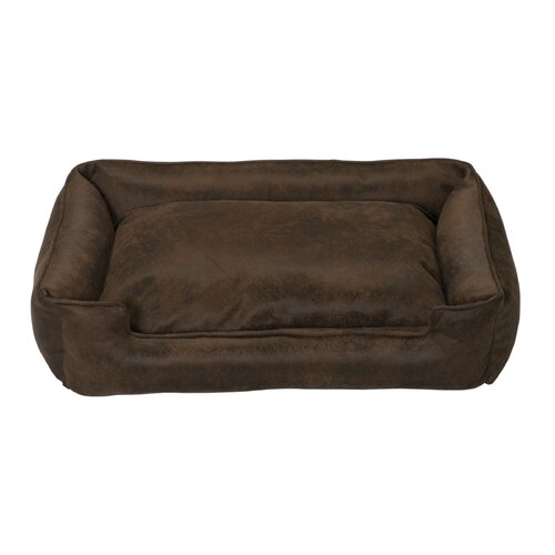 Faux Leather Lounge Bolster Dog Bed