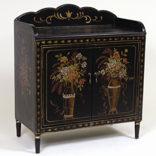 AA Importing 2 Door Cabinet with Floral Design