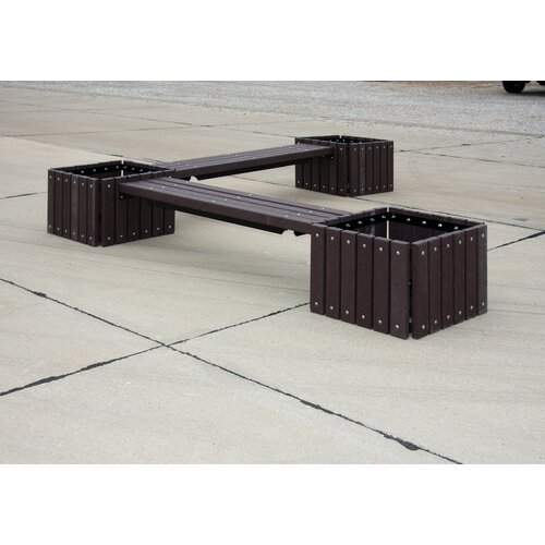 Ultra Play UltraSite Recycled Plastic Bench with 3 Planters
