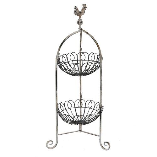 2 Tier Iron Basket Stand