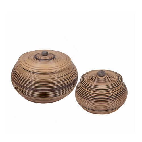 2 Piece Resin Wicker Containers Set