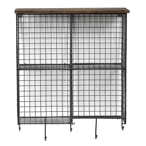 4 Section Wall Shelf with Hooks