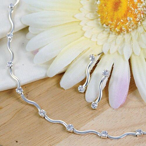 Contemporary Rhinestone Jewelry Set in Silver