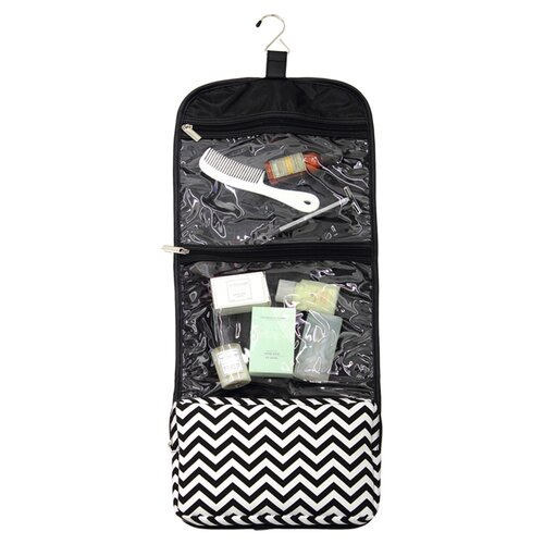 Cathys Concepts Hanging Cosmetic Bag and Grooming Kit with Block Monogram