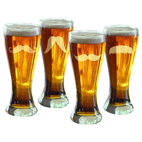 Cathys Concepts 4 Piece Gentleman's Mustache Pilsner Glass Set