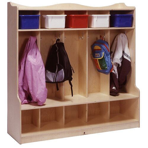 Steffy Wood Products Five Section Scalloped Locker with Seat/Step