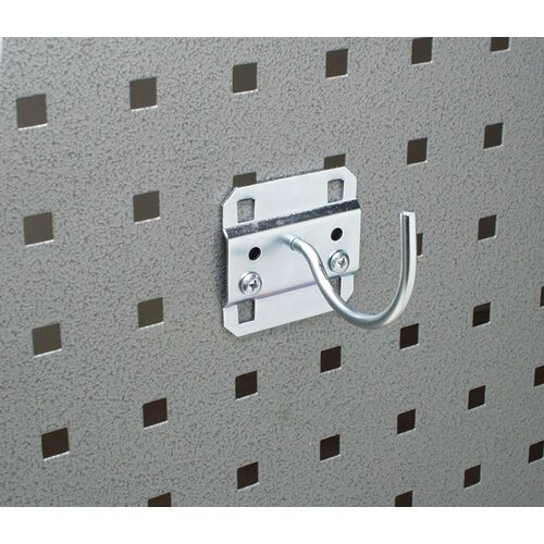 LocHook 2-1/4 In. Curved 2 In. I.D. Zinc Plated Steel Pegboard Hook for LocBoard, 5 ...