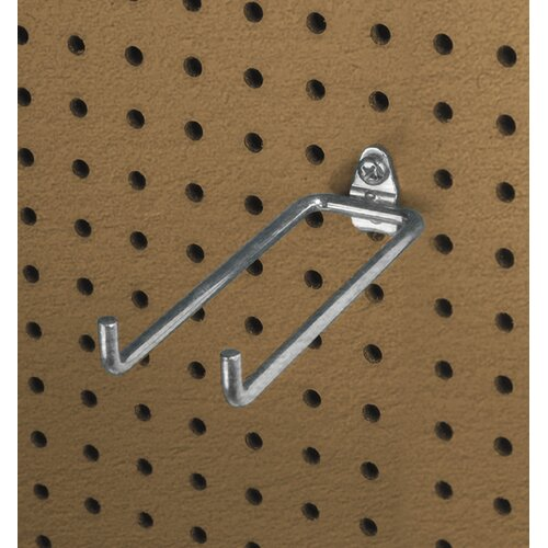 Triton Products DuraHook 8-1/4 In. Double Rod 80 Degree Bend 1/4 In. Dia. Zinc Plated Steel Pegboard Hook for DuraBoard, 5 Pack