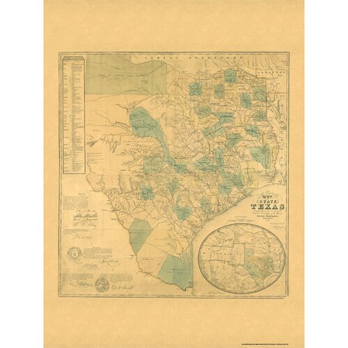 Universal Map Texas 1853 Historical Print Mounted Wall Map