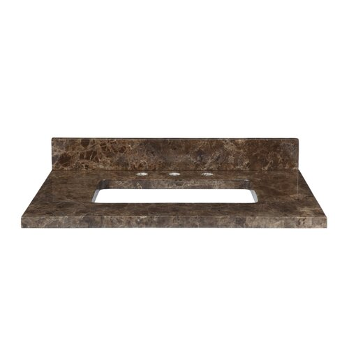 "Xylem 37"" Marble Vanity Top for Rectangular Undermount Sink with Backsplash"