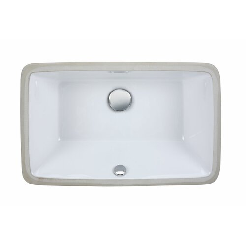 Undermount Rectangular Vitreous China Bathroom Sink