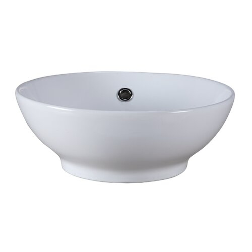Round Vitreous China Vessel Bathroom Sink
