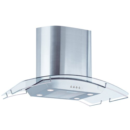 "Air King 35.5"" 600 CFM Ibiza Chimney Style Island Mount Range Hood with Glass Canopy"