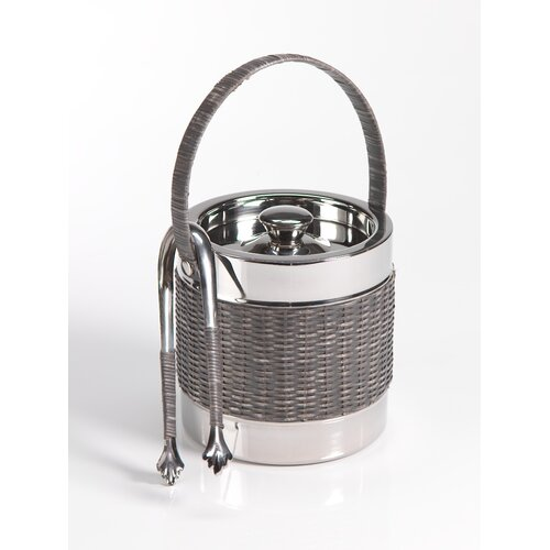 Woven Cane Ice Bucket with Ice Tong