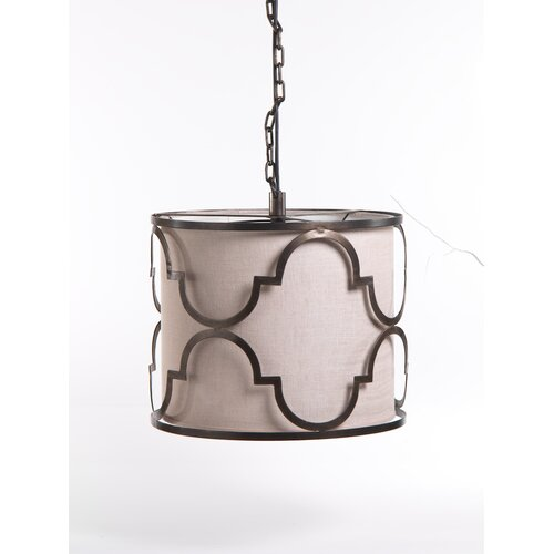 Quatrefoil 1 Light Ceiling Drum Pendant