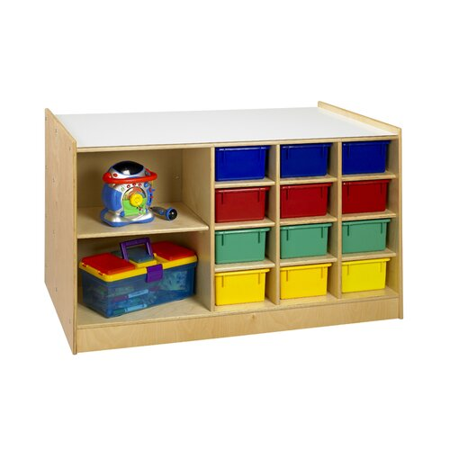A&E Wood Designs Mobile Storage 14 Compartment Cubby
