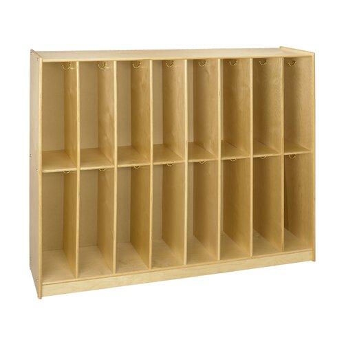 A&E Wood Designs Cubbie 16-Section Bay Twin Locker