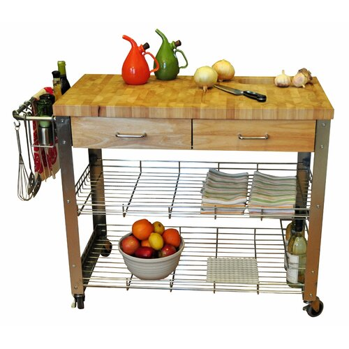 Stadium Kitchen Cart with Wood Top