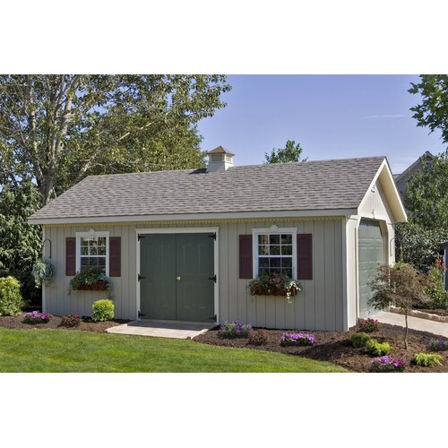 Homeplace 24' W x 14' D Keystone Wood Garage Shed