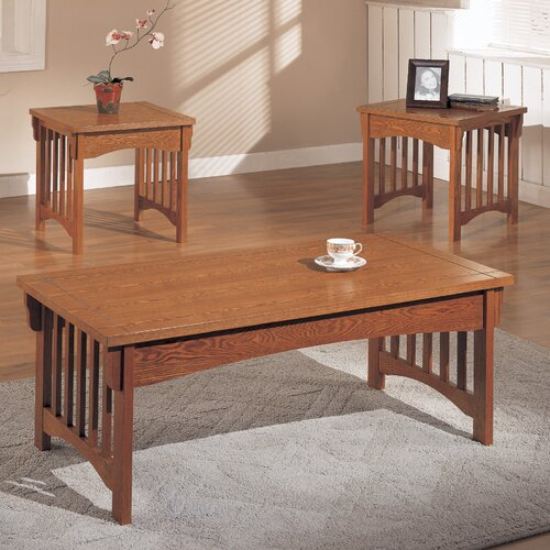 Anthony california mission style 3 piece coffee table set for Coffee tables 3 piece