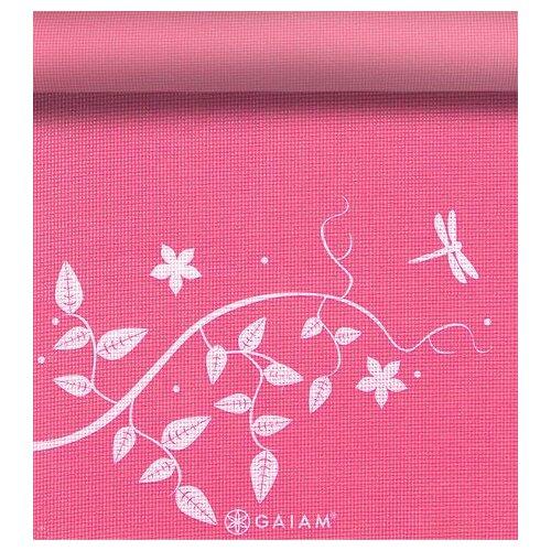 """Gaiam 0.12"""" Dragonfly Hydrangea Printed Yoga Mat"""