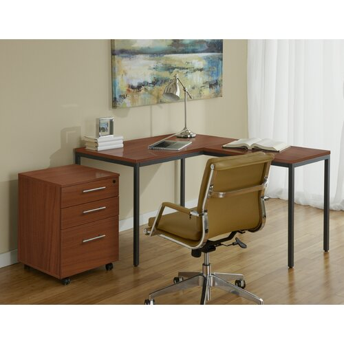 Parson writing desk with file cabinet wayfair - Jesper office desk ...
